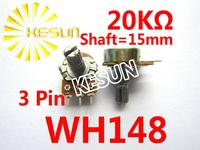 WH148 B20K 15mm 3Pin 0.5W 20K OHM Linear Taper Rotary Carbon Potentiometer Connector Pot x 100PCS