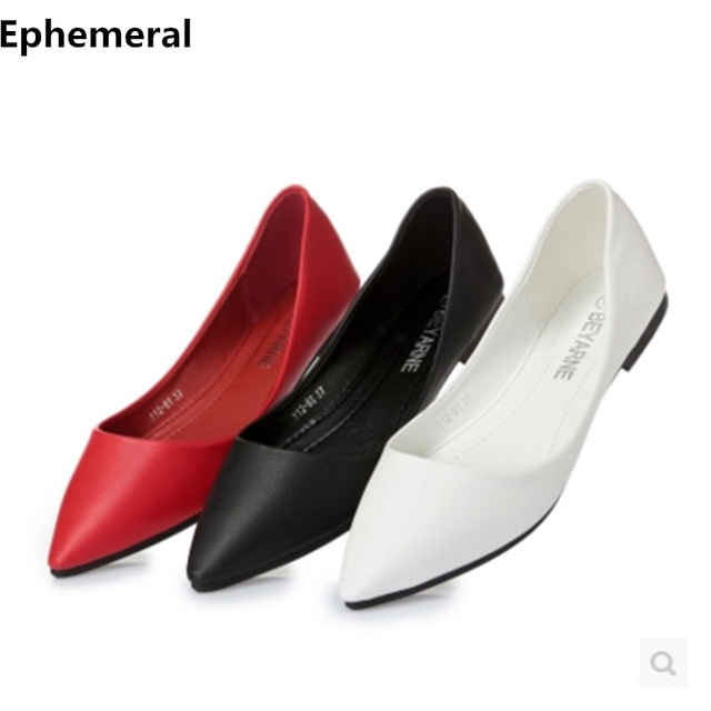White red black soft leather shoes women larger sizes 41 ballet flats  pointed toe shallow mouth slip-on ladies loafer low top 89d9b2fa9e12