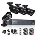 Zosi 4ch 720 p dvr cctv sistema 4 unids bala impermeable al aire libre 720 p cámara de vigilancia de seguridad para el hogar kit