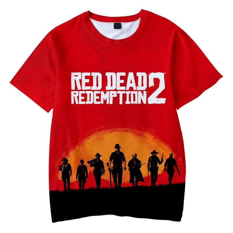 2019 3D Red Dead Redemption 2 T-shirt Men American New Game Short T-shirt Women/men Fashion Casual 3D Funny T-shirt XXS-4XL