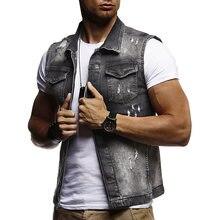 06aae635536 Новый модный джинсовый жилет Мужская куртка рваные без рукавов мото    Байкерский жилет Мужская джинсовая куртка