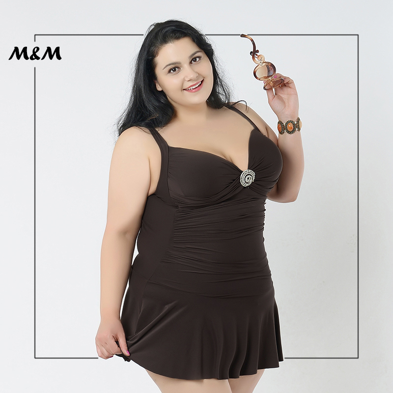 M&M Sexy Low-Cut Backless Plus Size One-Piece Swimsuit Women Solid Print Folds Lace Skirt Big Size Dress Large Size Swim Wear plus size scalloped backless one piece swimsuit