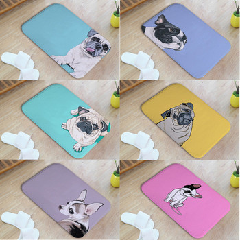 Cute Pugs Decorated Living Room Door Mat Glasses Necklace Duck Mouth Coat Purple Pink Bedroom Sofa Cushion Kitchen Simple Mat image