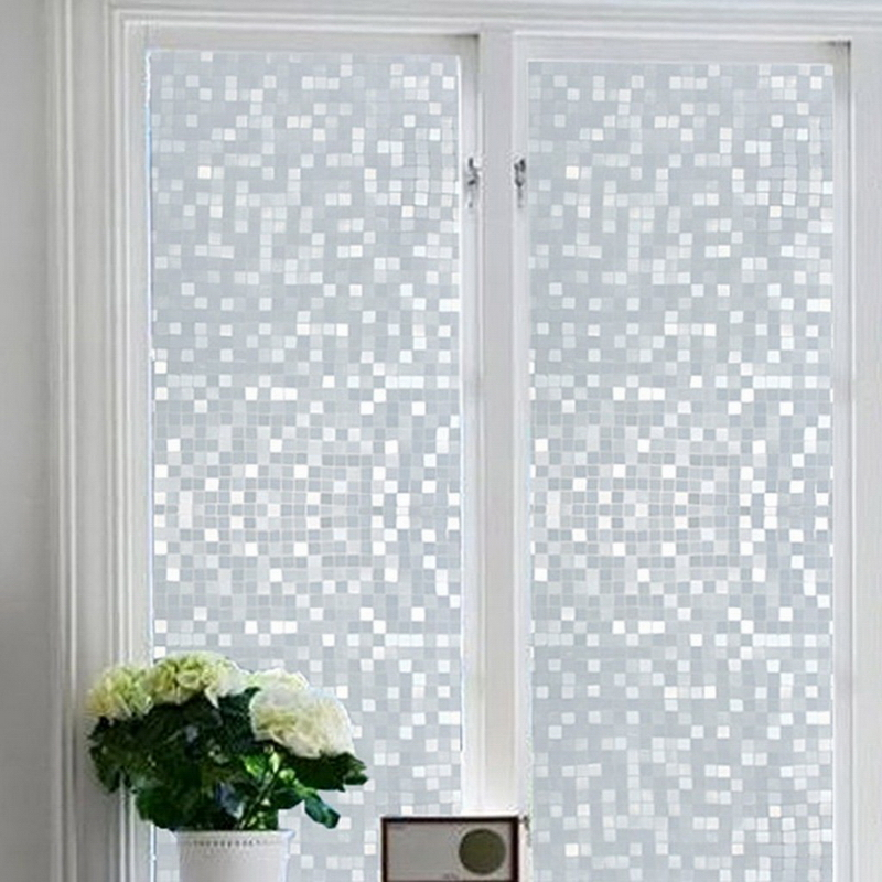 1pcs waterproof frosted privacy door window glass film sticker 45x100cm square lattice pattern