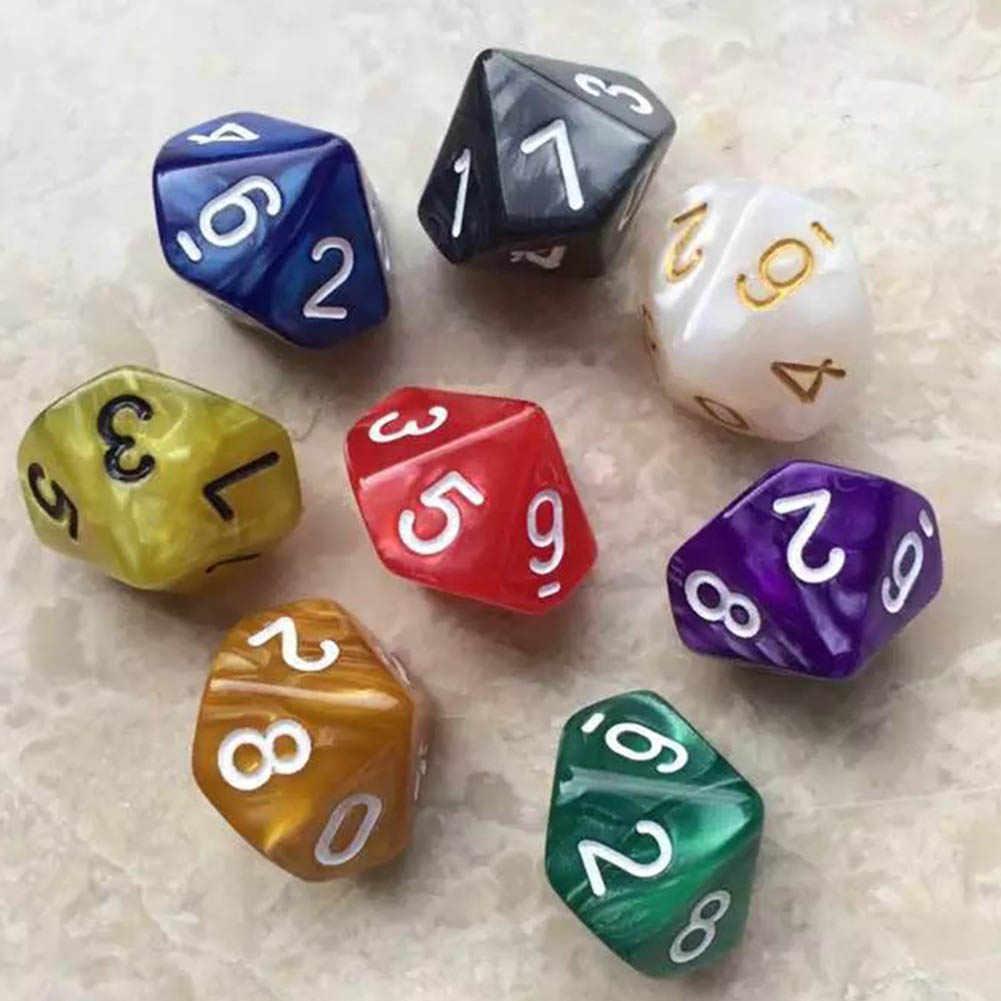 Multicolor D10 Ten Gem Dice Resin Pearl Gemmed Dices Die Transparent (0-9)  Set  Playing Games Random Color