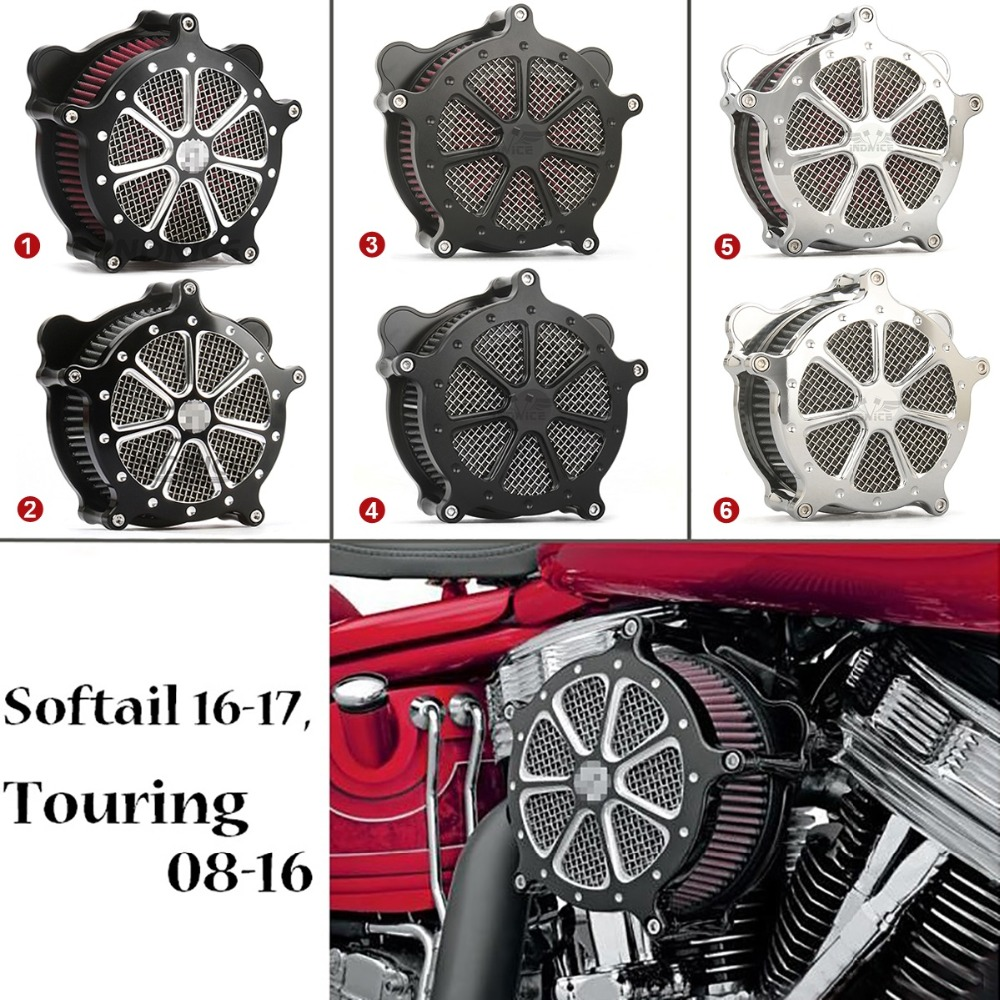 For Harley Softail Touring Venturi Cut Black Ops Air Cleaner Filter Fat Boy Breakout 2016-17 Road King Electra Glide 2008-2016