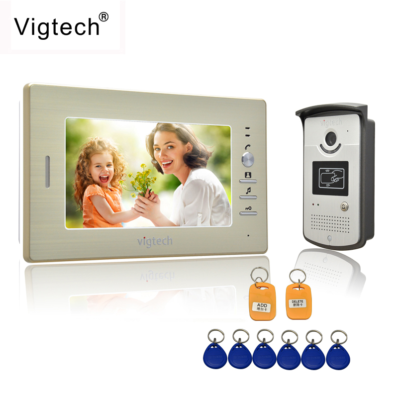Vigtech Home 7 Video Intercom Door Phone System With 1 golden Monitor 1 RFID Card Reader HD Doorbell Camera FREE SHIPPING free shipping 7 video intercom video door phone system with 1 monitor 1 rfid card reader hd doorbell camera in stock wholesale
