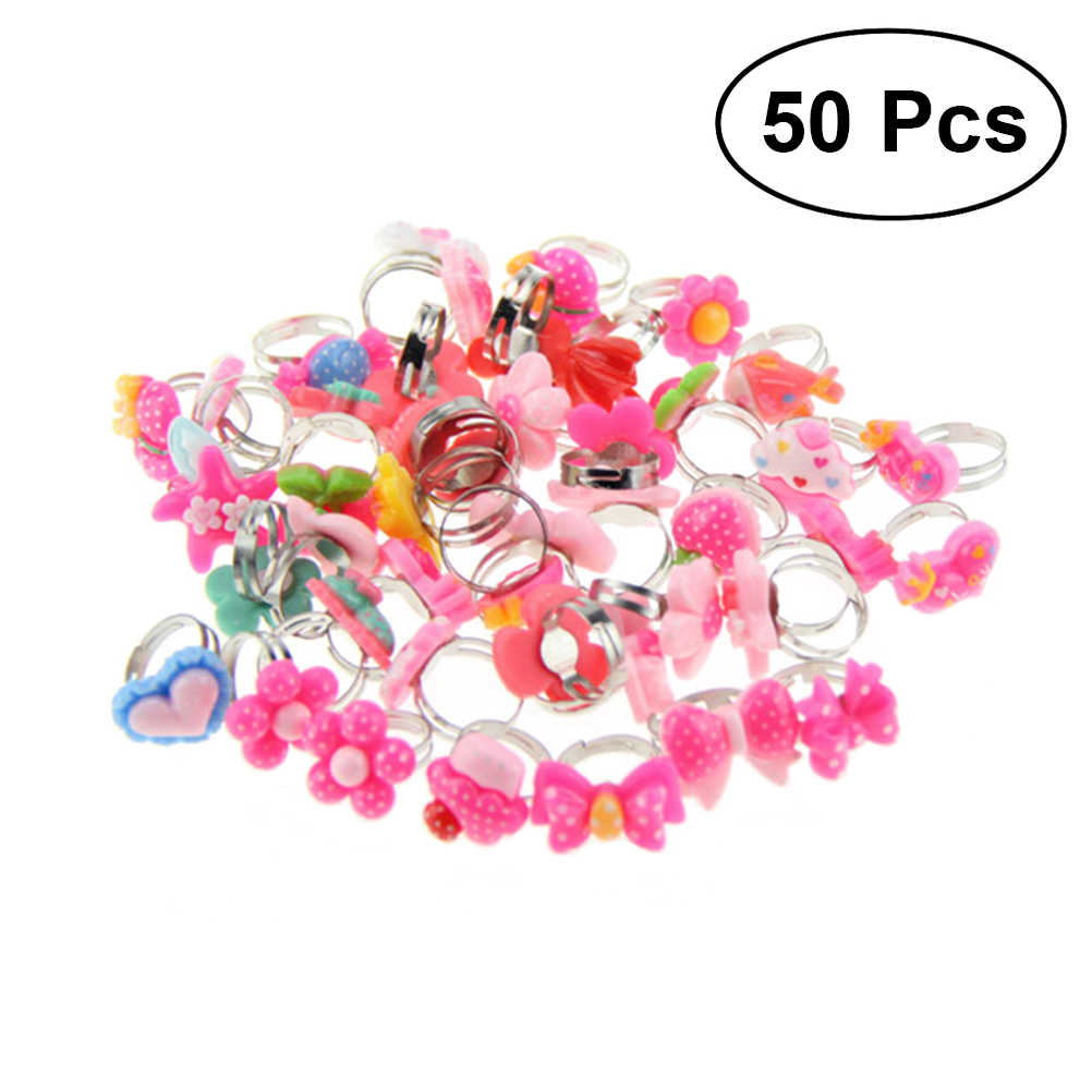 50pcs Colorful Assorted Design Plastic Rings Toys Party Supplies Favors for Children