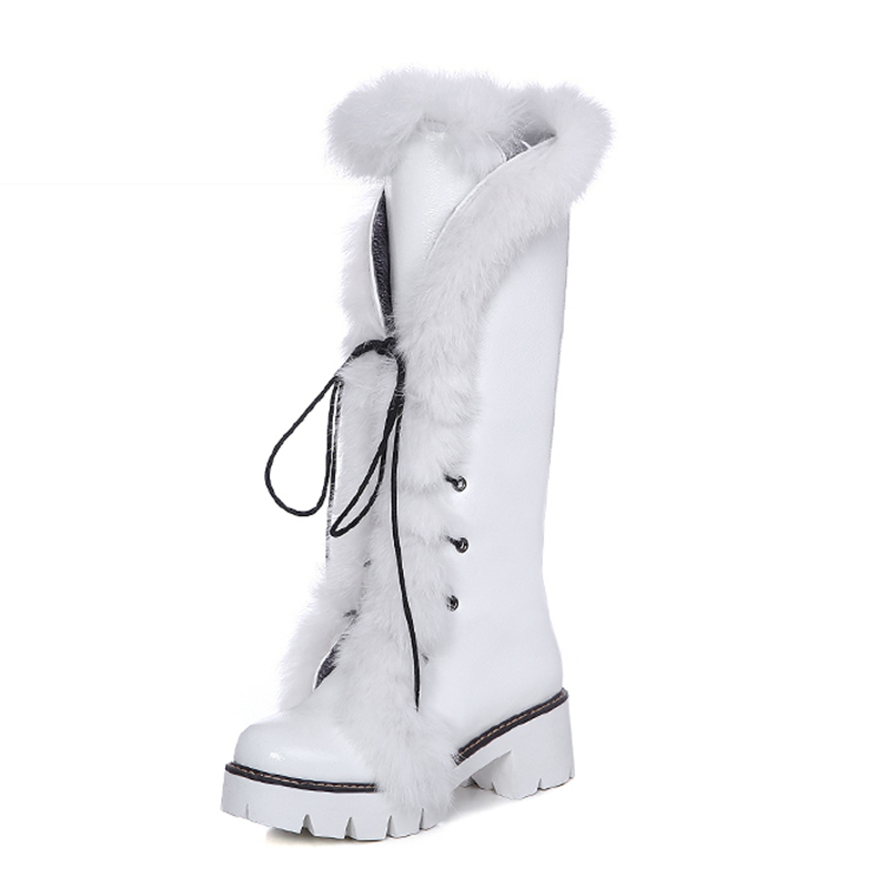 WETKISS 2017 New Style Snow Boots Fur Charm Lace Up Square Heels Knee Boots Cozy Platform Winter Shoes Popular Women Shoes big size 33 43 2016 new style thick heels high quality zip knee boots cozy buckle charm add fur fall winter boots women shoes