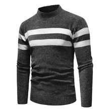 Mens Sweaters Long Sleeve Turtleneck Pullover 2018 Fashion Stripe Knitted Top Clothes Casual Slim Knitwear Black Camel