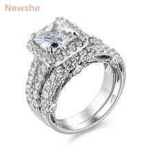 Newshe 2 шт., набор свадебных колец, классические ювелирные изделия, 2,8 карат, принцесса, огранка AAA CZ, серебро 925 пробы, обручальные кольца для женщин, JR4887
