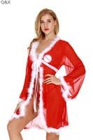 DL142 Beyaz Kürk Ile 2017 Sıcak Kırmızı Tül Babydoll Chemise Noel uyku Elbise Kadın Seksi Kırmızı Açık Ön Dantel Up Gece Giyim