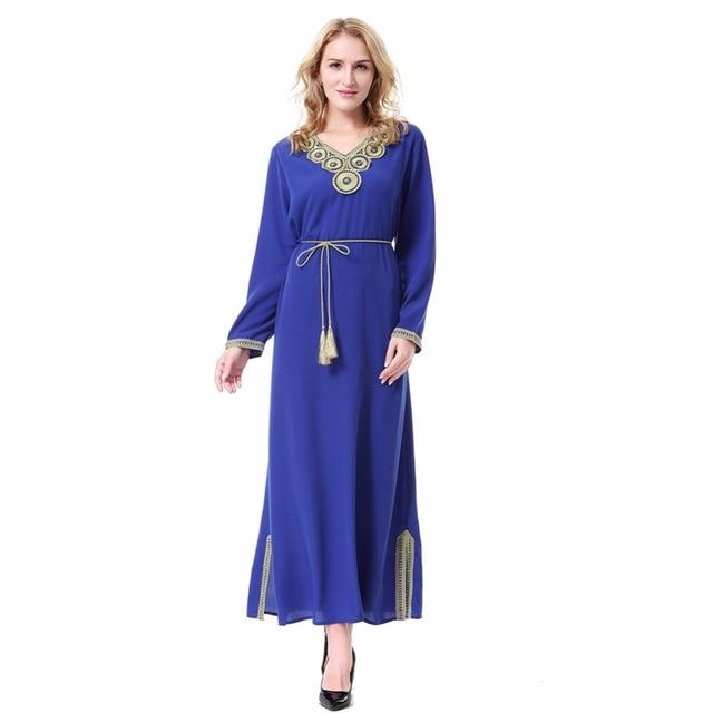 b572dccc1da0f6 Moslim Vrouwen Lange Mouwen Dubai Jurk Maxi Abaya Jalabiya Islamitische  Marokkaanse Jurk Kleding Gewaad Kaftan Mode