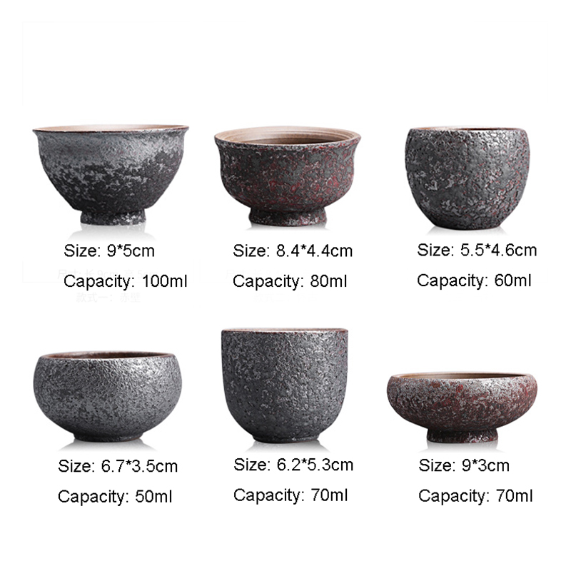 Vintage Pottery Rust Glaze Teacups 1