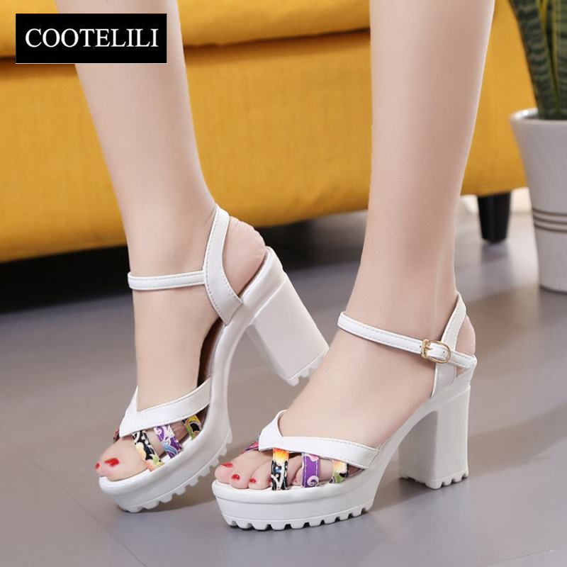 COOTELILI 35-39 Summer Casual High-Heels Women Sandals Leisure Mixed Color Ladies Shoes Floral Narrow Fashion Sandalia Feminine