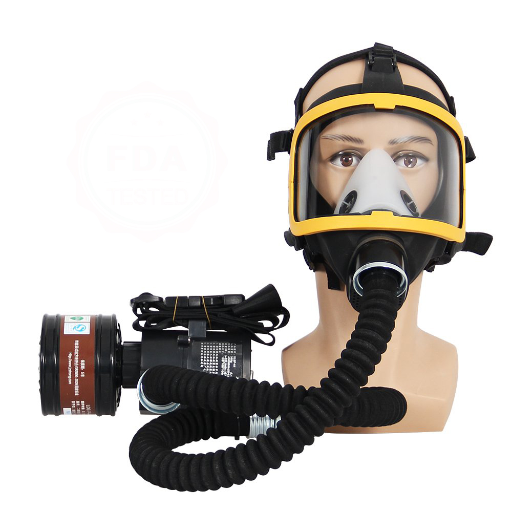 Electric Constant Flow Supplied Air Fed Full Face Respirator Gas Mask Blower Breathing tube charger filter