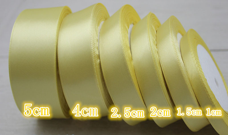 geinne 6mm-50mm wide 25 yardsroll   light gold  Single Face Satin Ribbon Wholesale Gift Wrapping Christmas ribbons
