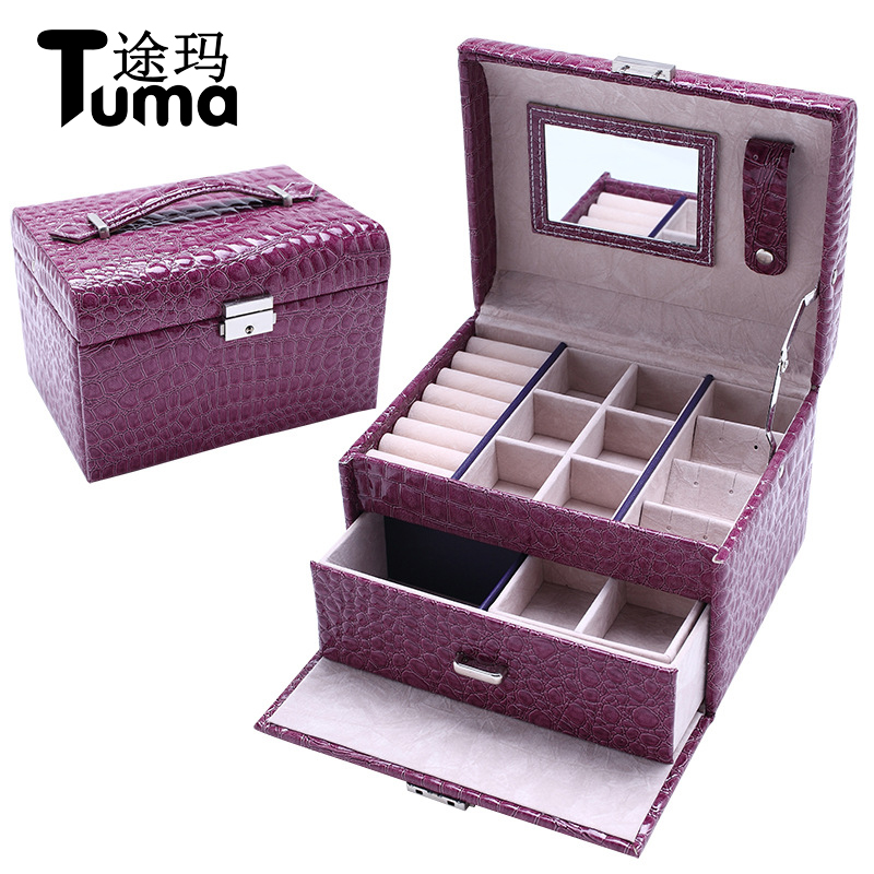 Europen Style Luxury Large Space Leather Jewelry Display Classical Jewelry Box Customized Jewel Case Jewelry Storage Box