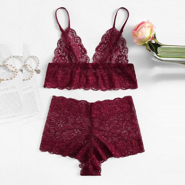 6fbcda4f2b849 Women Sexy Floral Lace Longline Lingerie Set 2018 Autumn Red Women Bra    Brief Sets Wireless Sexy Underwear Bra Set