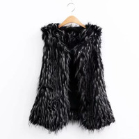 FIRSTTO Stylish Gradual Color Long Hairy Shaggy Faux Fur Vest New 2018 Winter Women Faux Fur Sleeveless Coat Fur Outerwear Tops