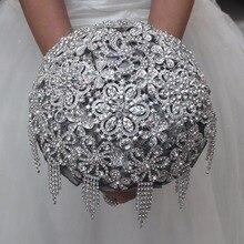 Crystal Bridal Bouquet De Mariage Luxury Flower Tassels Crystal Wedding Bouquets Bling Rhinestone Wedding Flowers Bouquet Custom
