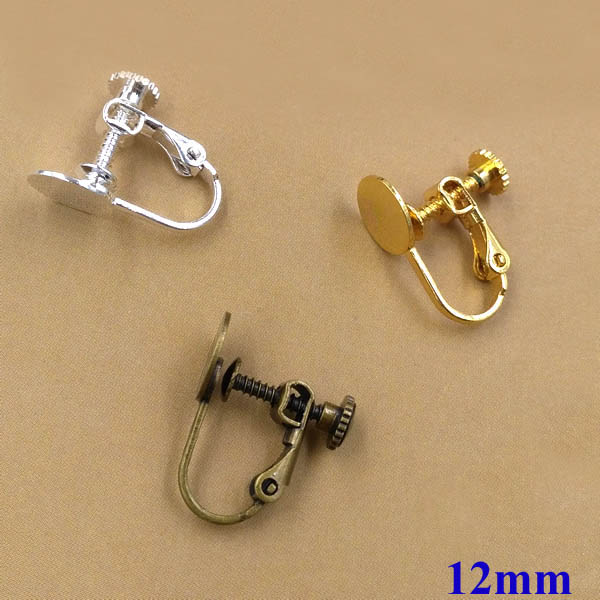 Blank Earrings Bases with 12mm Flat circle Glue Pad Clip On Screw Earring Findings Settings for