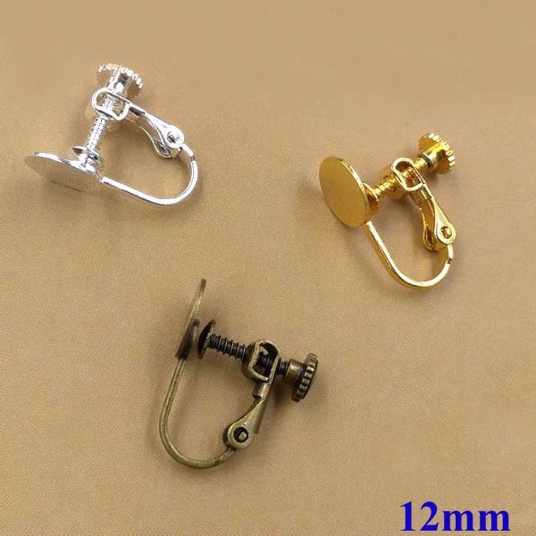 Blank Ohrringe Bases mit 12mm Flache kreis Kleber Pad Clip auf Schraube Entdeckung einstellungen für Nicht Ohrlöcher Gemischt farben-in Schmuckzubehör & Komponenten aus Schmuck und Accessoires bei  Gruppe 1