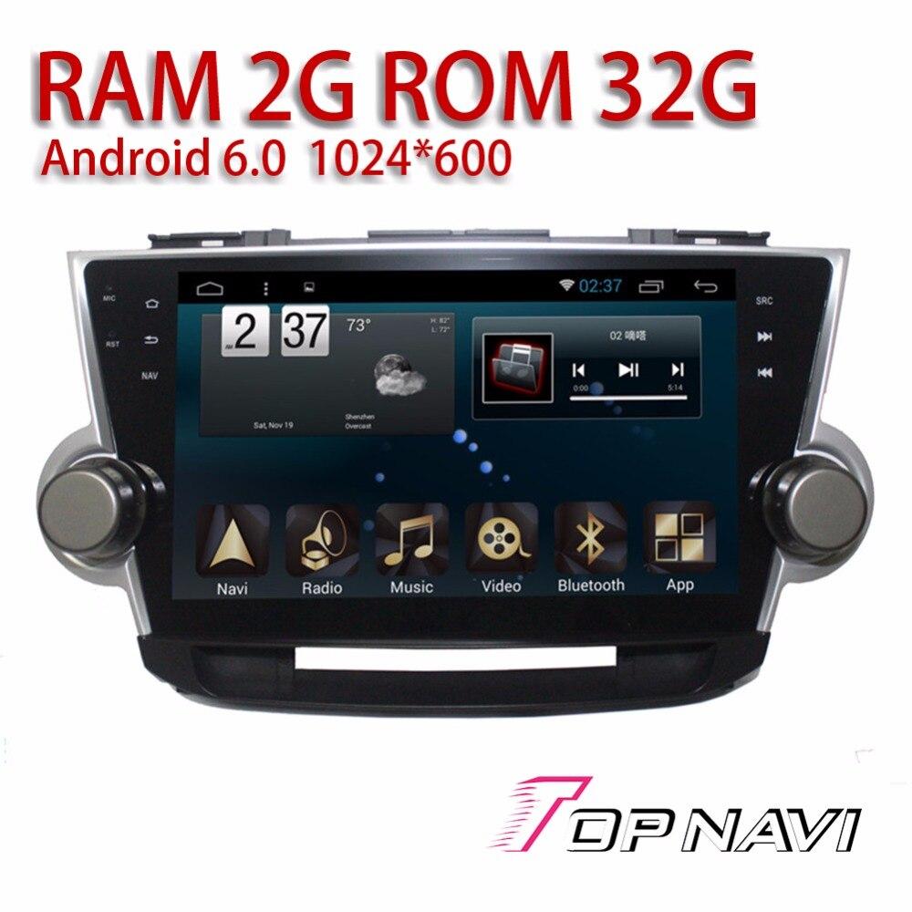 Car Navigation Players for Highlander 2009 Android 6 0 10 1 Topnavi Auto Vehicle Plug Play
