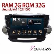 """Coche navegación para Highlander 2009-android 6.0 10.1 """"topnavi auto vehículo Plug & Play GPS Radios sintonizador wifi Unidad Principal"""