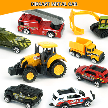 Toy Car 1:64 Alloy Car Mini Diecast Metal Car Toys Construction Vehicle Police Military Toy Car Model Set Collections Gift image