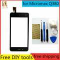 Free Tools+ New Touch Screen For Micromax Q380 Q 380 Glass Capacitive sensor for Micromax Q380 q 380 Touch Screen panel Black