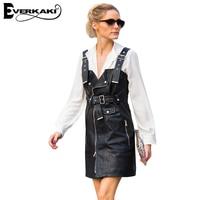 Everkaki Women Sexy Faux Leather PU Mini Dress Bodycon High Waist Zipper Adjustable Belt Sleeveless Dresses