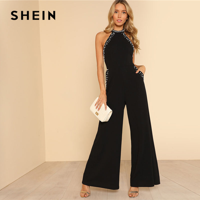aa4910321582 SHEIN Pearl Embellished Backless Halter Wide Leg Party Jumpsuit Black  Sleeveless High Waist Plain Maxi Women Elegant Jumpsuit