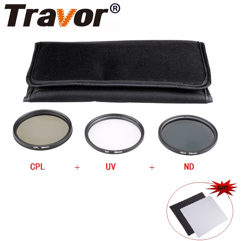 Travor Polarizing Neutral Density ND4+UV+CPL Filter Kit For Nikon Canon Sony Pentax DSLR Accessories (49 52 55 58 62 67 72 77)MM