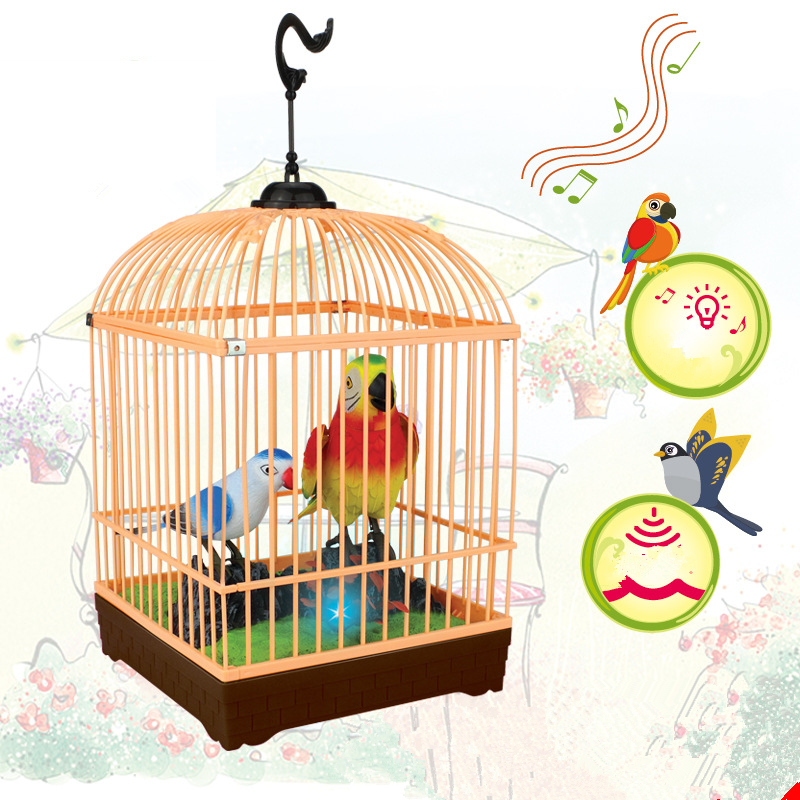 Quality Goods Beautiful Birds Induction Electric Toy Voice Control Bird Children Parrot Cage Kids Pop Birthday Gifts