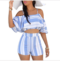Women's Sets Sexy Crop Tops + Shorts Twinset 2016 New Summer Two Piece Striped Batwing Sleeve Spaghetti Strap Butterfly wmz2084