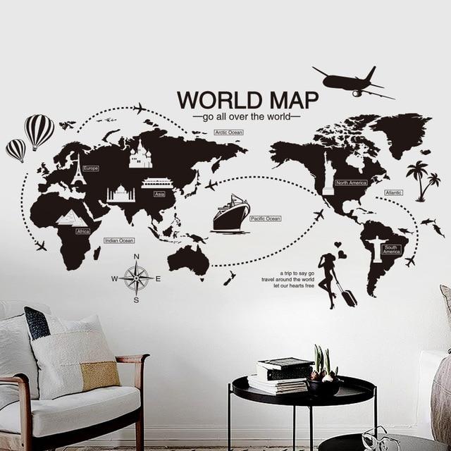 Carte Du Monde Noir Sticker Mural Chambre Bureau Artistique Fond