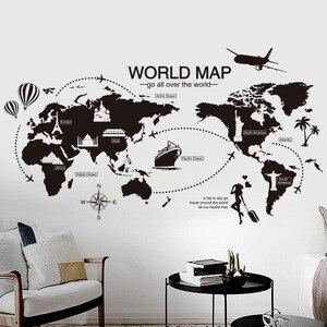 Czarny świat naklejka ścienna z mapą sypialnia biuro artystyczne tło zdejmowane pcv Muurstickers Home Decor dekoracja pokoju dziecięcego