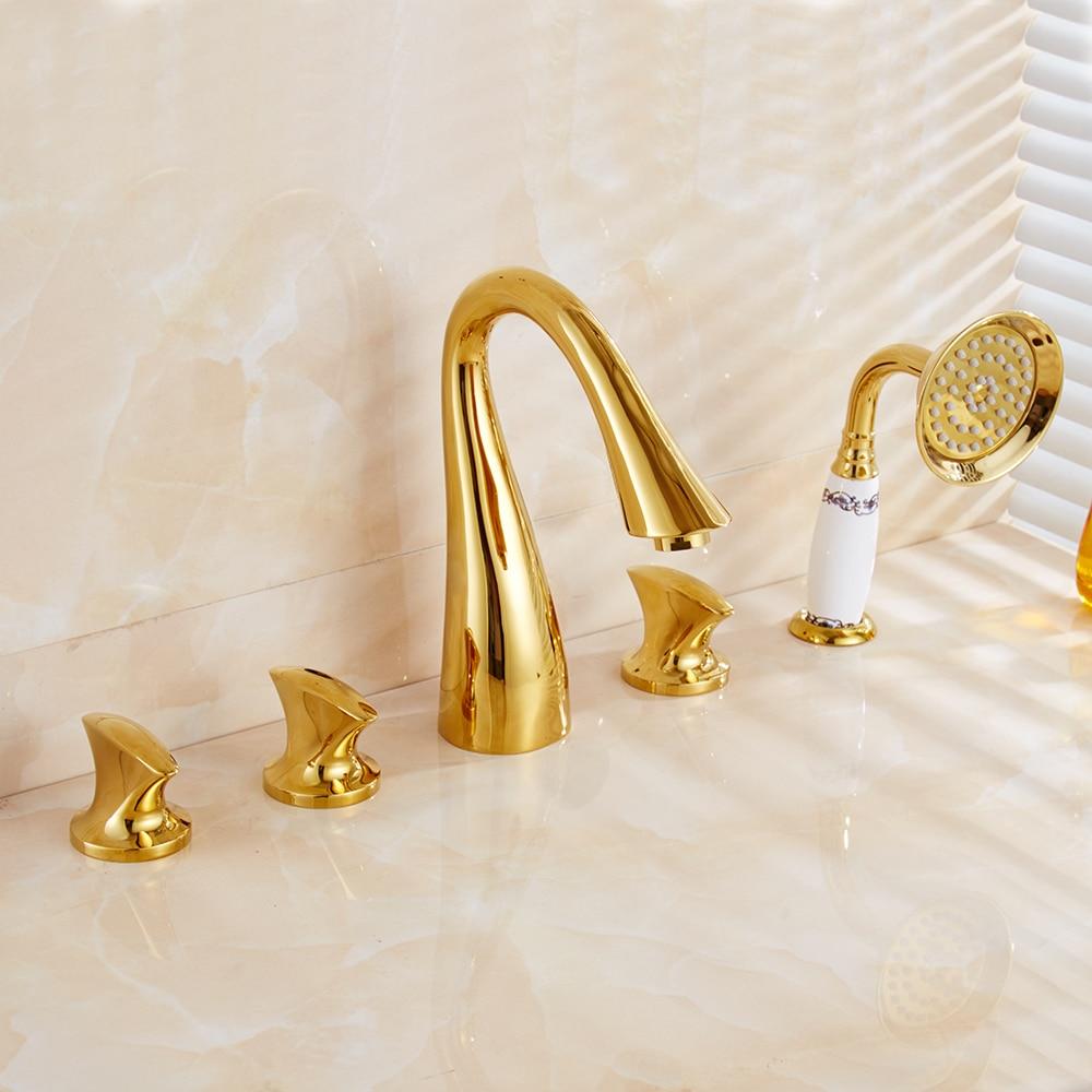 Banheira Torneiras Latão Acabamento Dourado Luxo 5 Facucet Bacia Buraco Torneira Do Banheiro Conjunto Chuvas Chuveiro Chuveiro de Mão Misturador Quente e Frio torneiras - 5