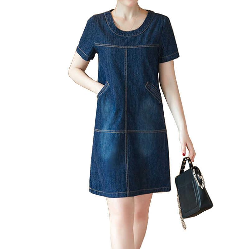 Voobuyla Плюс Размер summer летнее джинсовое платье женское однотонное с круглым вырезом короткий рукав карманы джинсовые платья Свободное Повседневное платье Vestidos