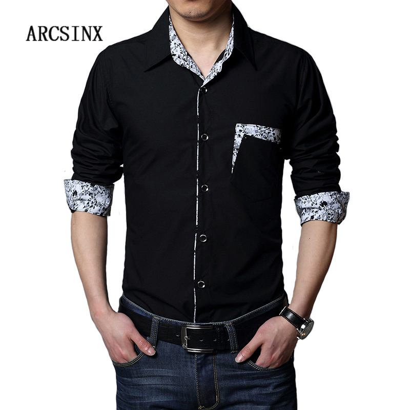 US $15.86 40% OFF|ARCSINX Plus Size Men Dress Shirt 5XL 6XL 7XL 8XL Autumn  Casual Black White Big Size Male Social Shirts Patchwork Chemise Mens-in ...