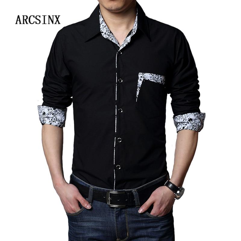 ARCSINX Plus Size Men Dress Shirt 5XL 6XL 7XL 8XL Autumn Casual Black White Big Size Male Social Shirts Patchwork Chemise Mens