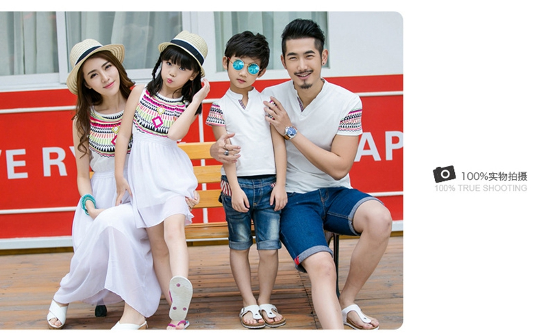 HTB1NrZ6bKLM8KJjSZFqq6y7.FXa5 - Summer Family Matching Outfits Ethnic Style Mother Daughter Beach Dresses Father and Son White T-shirt Family Clothing Sets