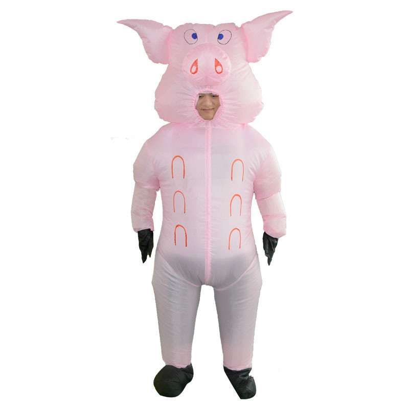 Gonflable Porcs Blow Up Animaux Ferme Adulte Fantaisie Robe Costume Gonflable Costume Rose de Porc Cosplay Pour Adultes Disfraces Halloween