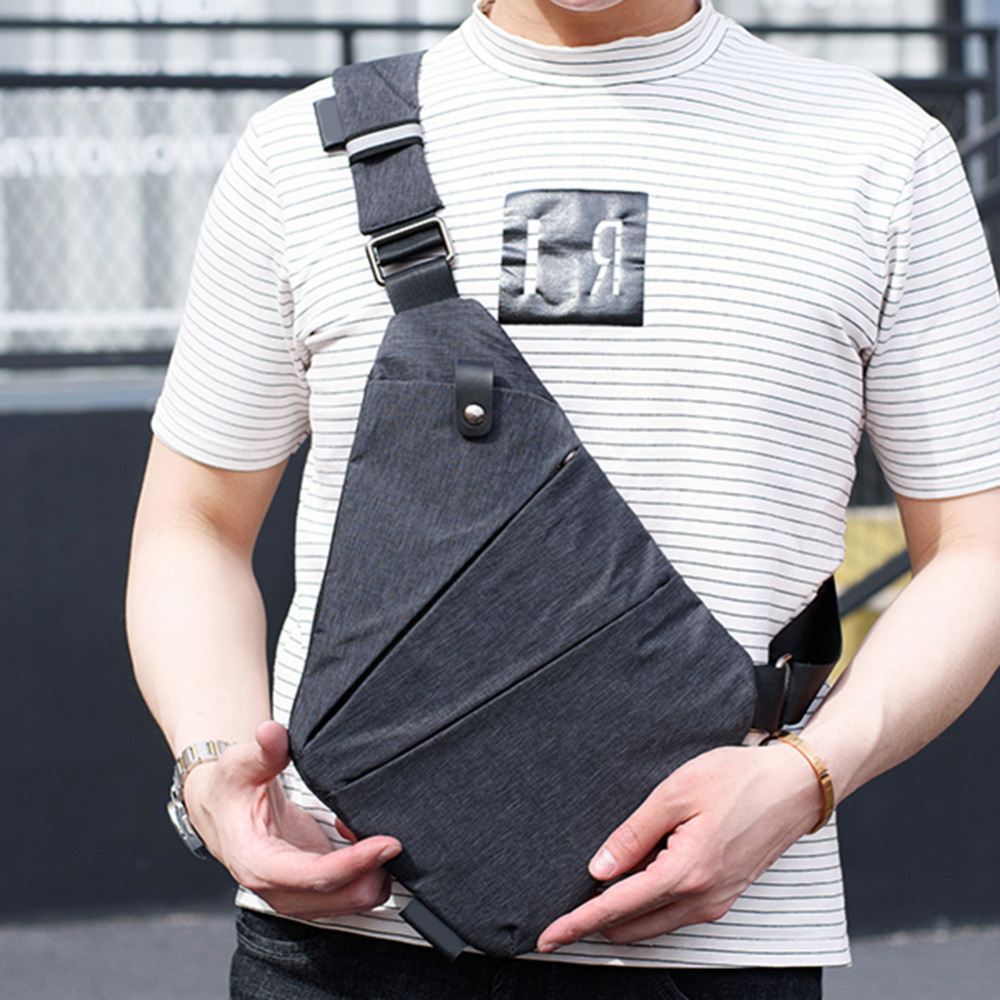 Fashion Canvas Chest Bag Men Simple Single Shoulder Bags for Men Chest Pack Anti Theft Male