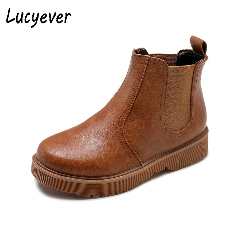 Lucyever 2018 Autumn Winter Women Boots Vintage Black Brown Chelsea Boots British Style Soft Leather Fashion Ladies Ankle Boots zunyu new autumn winter men s chelsea boots luxury british style fashion ankle boots black brown blue soft leather casual shoes