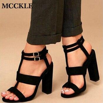 MCCKLE/босоножки на высоком каблуке, летние сандалии-гладиаторы для женщин, с двойной пряжкой, на квадратном каблуке, из флока, женская свадебн...
