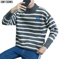 2017 Autumn Winter New Men Half Turtleneck Stripe Sweater Knitwear Fashion Casual Young Male Loose Pullover