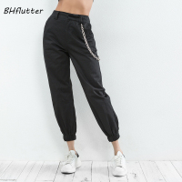 BHflutter Women Pants High Waist Chain Casual Trousers New Style Women Cargo Pants Spring Summer Harem