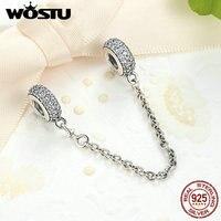 Настоящее серебро 925 проба проложить вдохновение безопасности цепи Шарм с прозрачной CZ Fit оригинальный браслет WST аутентичный драгоценный п...